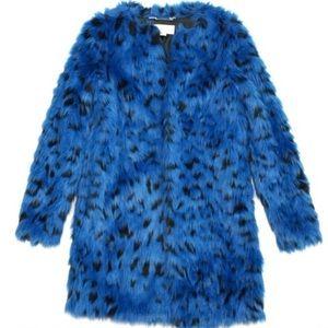 Michael Kors blue spotted leopard fur coat XS